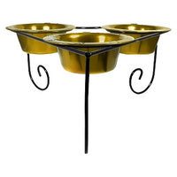Platinum Pets Triple Diner Stand with Three 12 oz Bowls - Gold