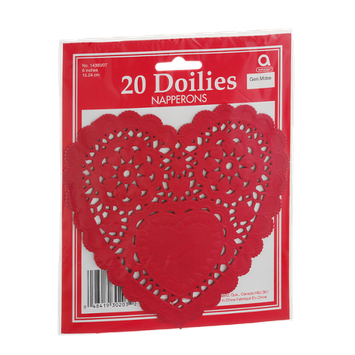 Amscan 6 Inch Heart Doilies - 20 CT