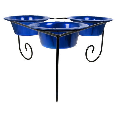 Platinum Pets Triple Diner Stand with Three 94 oz Bowls - Blue