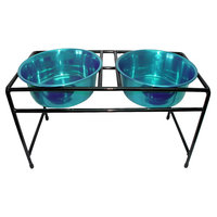 Platinum Pets Double Diner Feeder with Two 1 Quart Heavy Bowls - Teal