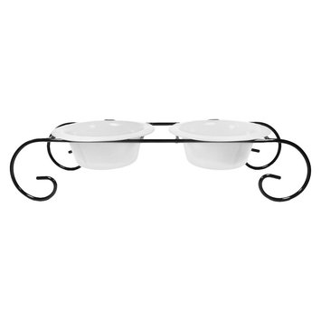 Platinum Pets 12 oz Double Diner Scroll Stand - White