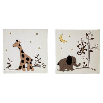 NoJo Dreamy Nights Wall Decor 2pc Appliqued Beige