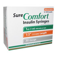 Sure Comfort Insulin Syringes Regular Needle 1ml 30 G.
