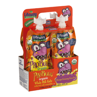 Lifeway ProBugs Organic Whole Milk Kefir Pouches Orange Creamy Crawler - 4 CT
