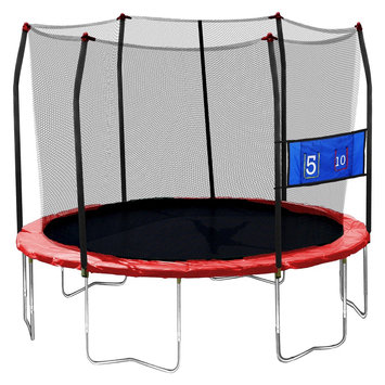 Skywalker Trampolines 12' Round Jump-N-Toss Trampoline with Enclosure - Red