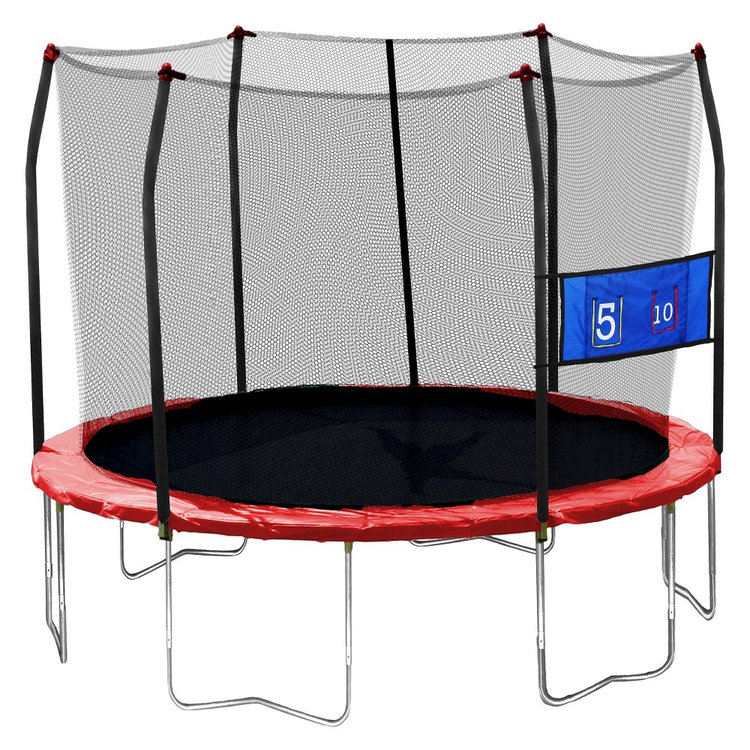 Skywalker Trampolines 12' Round Jump-N-Toss Trampoline with Enclosure - Red