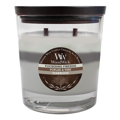 WoodWick 17.2-oz. Flickering Fireside, Poplar & Pine & Teakwood Soy Jar Candle (Grey)