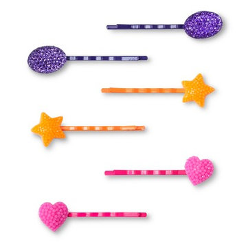 Crimzon Rose Girls' 6-Pack Bobby Pin Hair Clips - Purple/Yellow/Pink