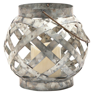 Threshold Small Galvanized Orb LED Lantern