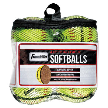 Franklin Sports Official League Softballs - Pack of 4 - Yellow