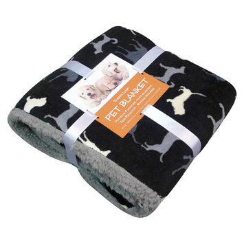 Overstock Dog Print Sherpa-backed Pet Blanket