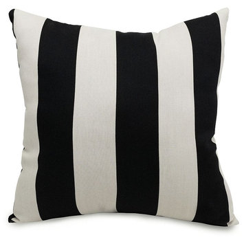 Majestic Home Goods Black Vertical Stripe UV-Protected Outdoor Accent Pillow