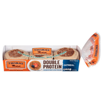Thomas Double Protein Oatmeal English Muffin 12 oz 6 ct
