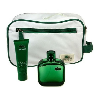 Lacoste Gift Set (Vert Men Eau De Toilette Spray, Shower Gel, Bag)