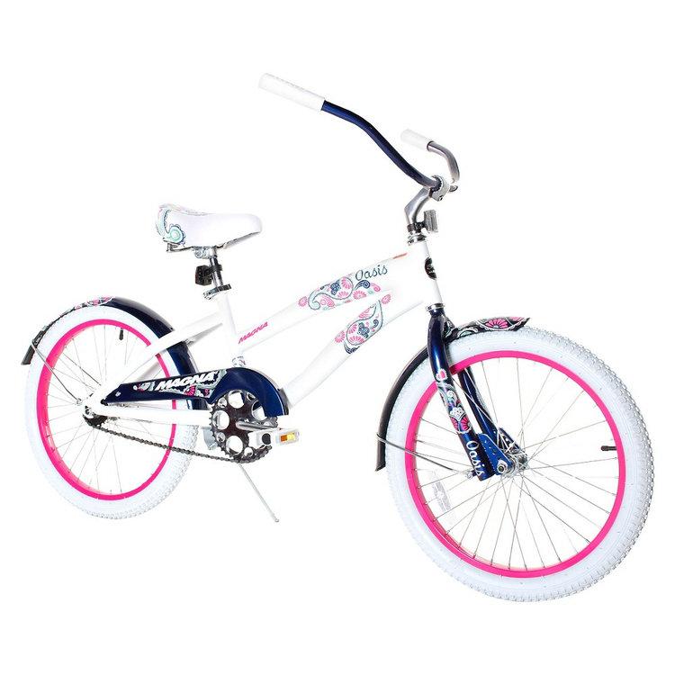 """Girl's Magna Oasis Cruiser Bike - White/Blue (20"""")"""