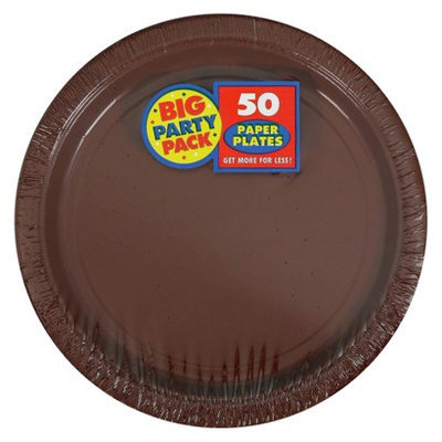 Amscan Chocolate Brown Big Party Pack - Dinner Plates (60 count)