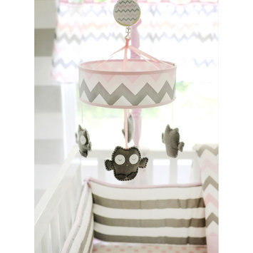 My Baby Sam Chevron Baby in Pink/Gray Mobile