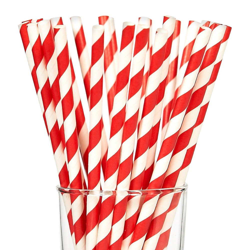 Party Partners 225826 7.75 Striped Paper Straws - 25 Paper