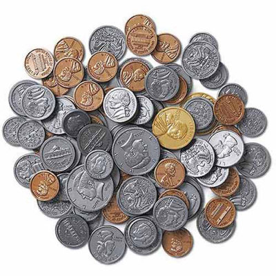 LEARNING RESOURCES LER0068 TREASURY COIN ASSORTMENT SET-460/PK PLASTIC REALISTIC