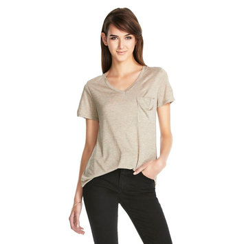 V-Neck MicroModal Tee with Pocket Oatmeal Heather XL