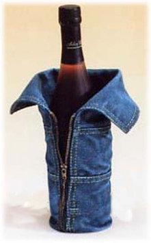 Ecworld Tight Zippered Designer Blue Jeans Hand-Finished Wine Bottle Holder