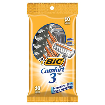 BIC Comfort 3 Triple Blade Disposable Razor for Men, 10-Count