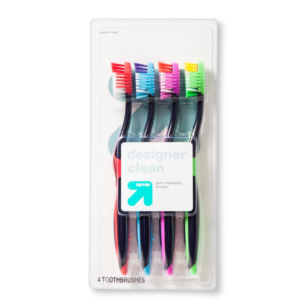 up & up Designer Clean Toothbrush - 4 count