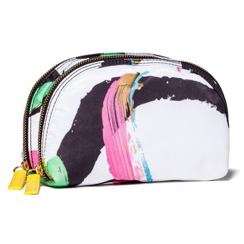 Sonia Kashuk Face Print Double Zip Clutch