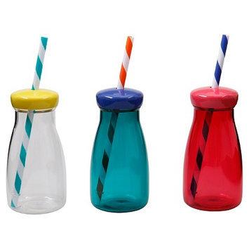 Tzeng Shyng Kids Milk Bottles w/Lid & Straw Asst