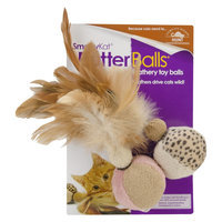 SmartyKat FlutterBalls Feathery Ball Toy for Pets - 2 Count