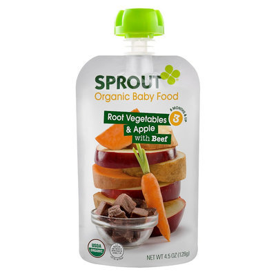Sprout Organic Food Pouch - Root Vegetables & Apple with Beef 4oz (5 Pack)
