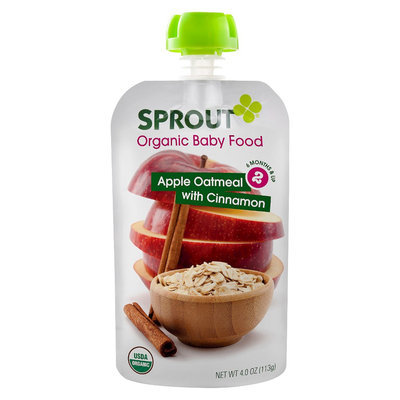 Sprout Organic Food Pouch - Apple Oatmeal with Cinnamon 4oz (5 Pack)