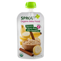 Sprout Organic Baby Food Stage 2 Banana Brown Rice with Cinnamon 4oz (5 Pack)