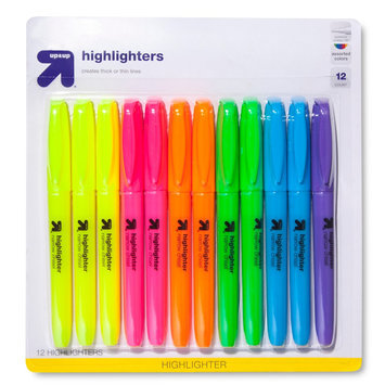 up & up Accent Highlighters in Assorted Colors - 12ct
