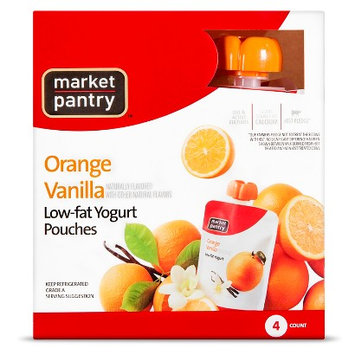 Market Pantry Yogurt Pouch Orange Vanilla 4 Count 3.5 oz