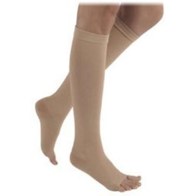 Sigvaris 500 Natural Rubber 40-50 mmHg Open Toe Unisex Thigh High Sock with Waist Attachment Size: M4, Leg: Right