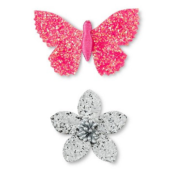 Fantasia Accessories Girls' 2-Pack Butterfly/Flower Hair Clips - Pink/Silver