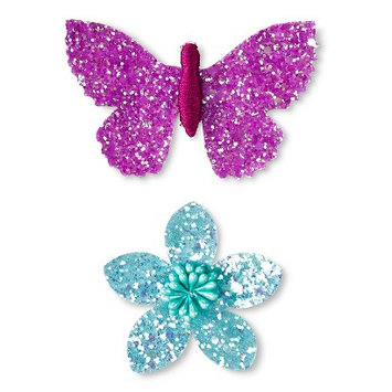 Fantasia Accessories Girls' 2-Pack Flower/Butterfly Hair Clips - Purple