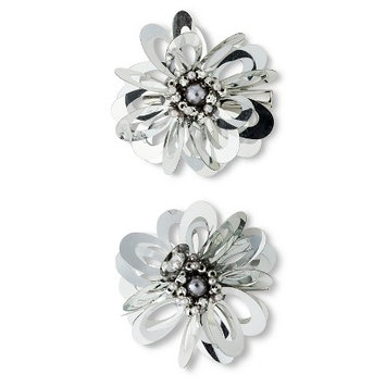 Fantasia Accessories Girls' 2-Pack Floral Hair Clips - Silver