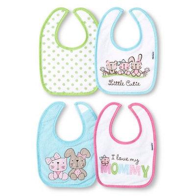 Gerber Newborn Girls' 4 Pack Terry Bib Set - Turquoise