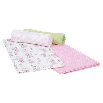 Gerber Newborn Girls' 4 Pack Flannel Blankets