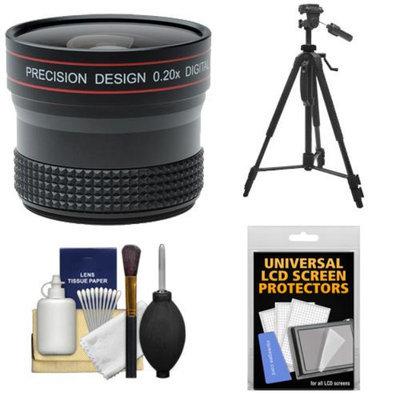 Precision Design 0.20x HD High Definition Fisheye Lens with Tripod + Accessory Kit for Canon EOS 60D, 6D, 7D, 5D Mark II III, Rebel T3, T3i & T4i Digital SLR Cameras