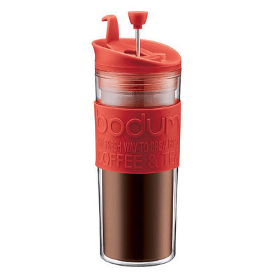 Bodum Insulated Plastic Travel French Press Coffee and Tea Mug 15-Ounce - Red