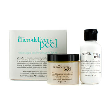 Philosophy The Microdelivery Peel: Lactic/Salicylic Acid Activting Gel 60ml/2oz + Vitamin C/Peptide Crystals 60g/2oz 2pcs