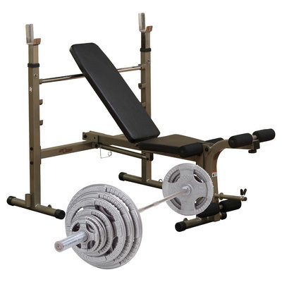 Body-solid Best Fitness Weight Bench with 300LB Olympic Grip Handle Weight Set - (BFOB10 - OST300S)