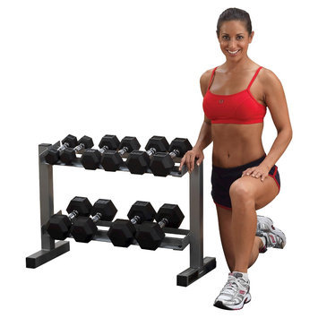 Body-solid Powerline Dumbell Rack with 5-30LBS Rubber Hex Dumbells - (PDR282xWS)