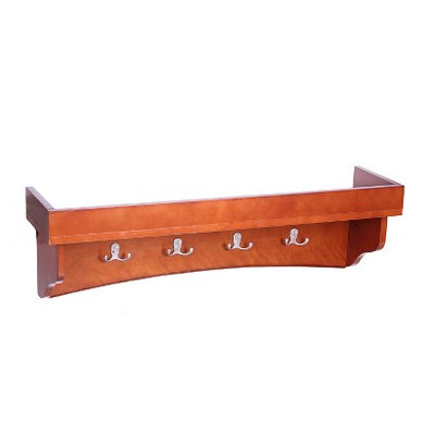 Wall Mounted Coat Rack: Alaterre Coat Hooks with Tray Shelf - Red
