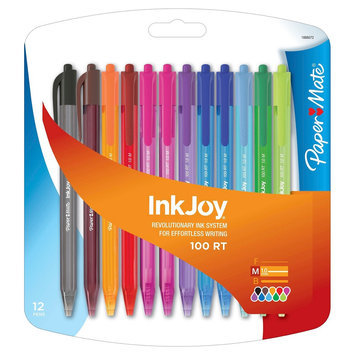 Rubbermaid Paper Mate Inkjoy 100RT Retractable Ballpoint Pen, 1mm, 12ct - Multicolor Ink, Multi-Colored