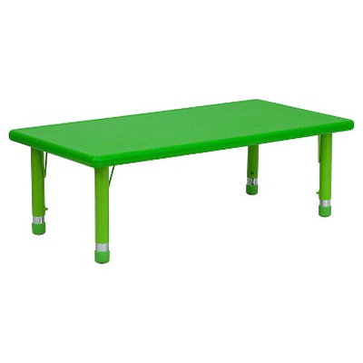 Flashfurniture Height Adjustable Rectangular Plastic Activity Table Color: Green
