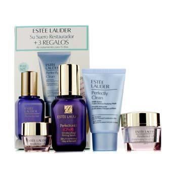 Estée Lauder Lifting/Firming Set: Perfectionist [CP+R] Serum, Resilience Lift Cream, Eye Cream, Perfectly Clean